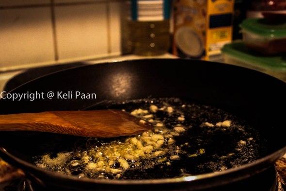Saute garlic in butter