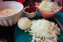 Batter ready.. alongside the chopped cabbage and onions