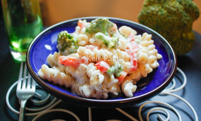 Sour Creamed Pasta with Broccoli and Red Pepper