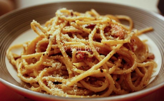 Whole wheat Spaghetti with Bacon