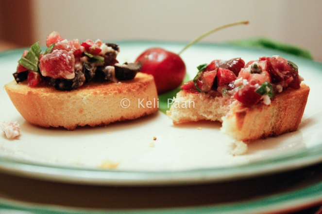Cherry n Olive Bruschetta