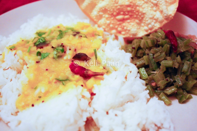 Steamed Rice, DDT along with Beans Telasan (Stir fried beans)