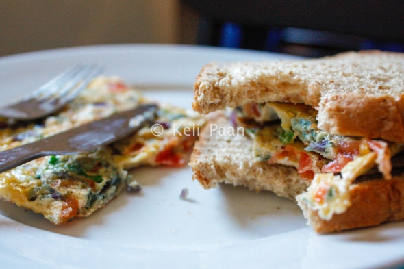 Bread with Indian Masala Omelette