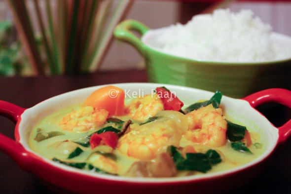 My kind of Mix-Veg Thai Yellow curry with Prawns