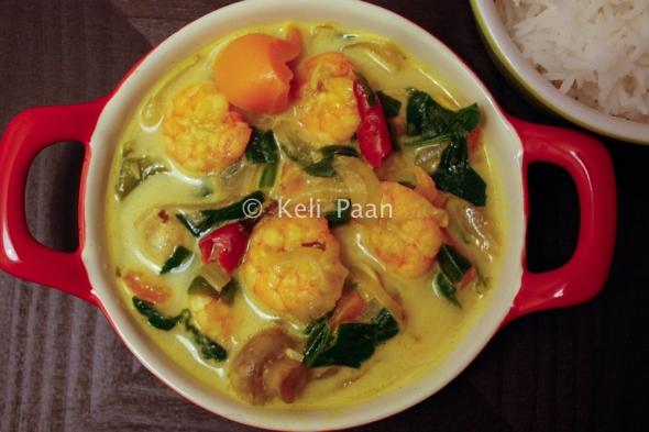 Mix-Veg Thai Yellow curry with Prawns