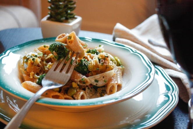 Pasta with Broccoli & Brussel sprouts tossed in sesame & honey