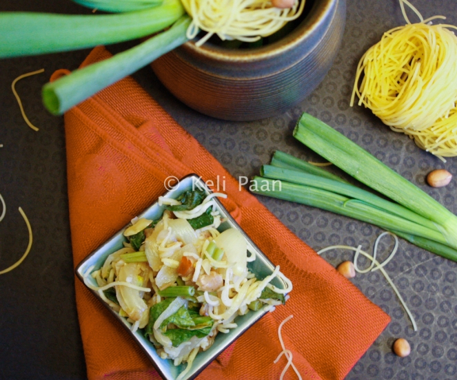 Peanut flavoured rice noodles stir fry