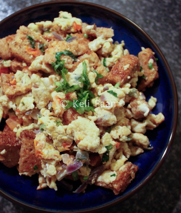 Egg Stumbler/ Spicy scrambled eggs tossed with bite size bread pieces