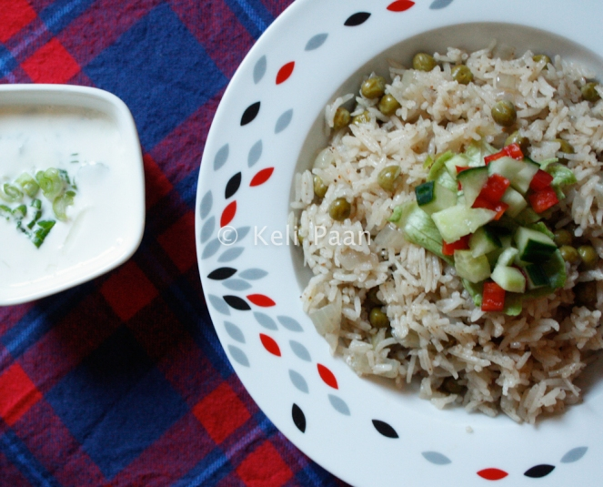 Microwave Peas Pilaf with Spring Onion Raita