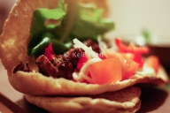 Greek Souvlaki wrap with salad & tzatziki