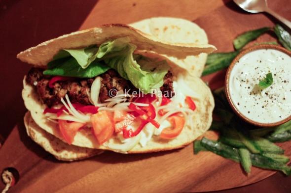 Greek Souvlaki wrap with salad & tzatziki