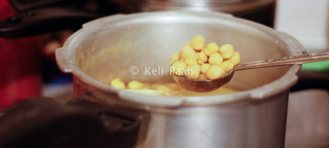Pressure cooked chickpea... along with potaoes..