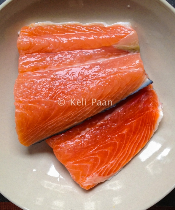 Washed & drained Salmon fillets..
