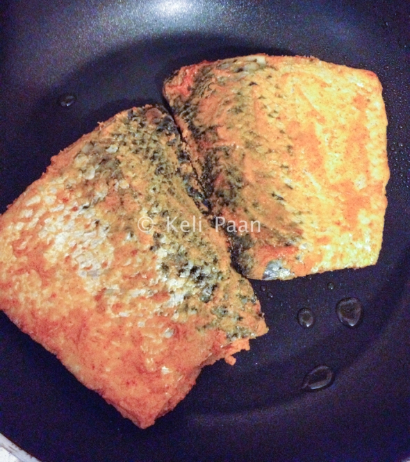 Fry the fish till they are golden brown & cooked...