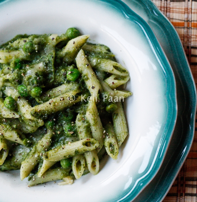 Watercress flavoured Penne Pasta with Peas....
