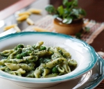 Watercress flavoured Penne Pasta with Peas..
