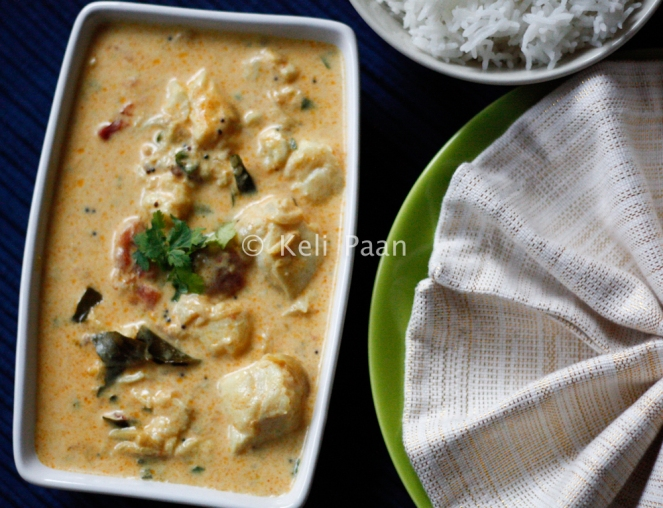 Meen Molee/Boneless fish pieces in a fragrant Kerala style coconut curry