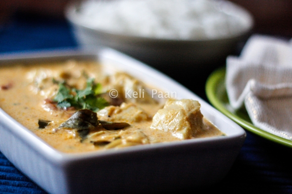Meen Molee/Boneless fish pieces in a fragrant Kerala style coconut curry..