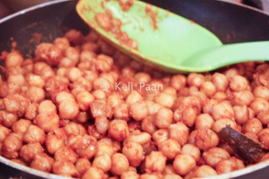 Add the pressure cooked chickpeas..