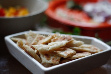 Cut the Paratha's into bite sized pieces..