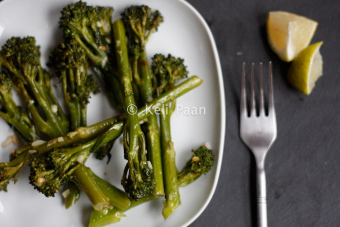 Steamed tender-stem Broccoli tossed in Olive oil, garlic & chilli flakes..