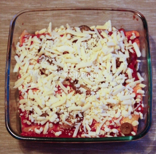 Finally add some grated cheese.... before baking it in the oven...
