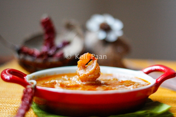 Sungta Hinga Udda/Sungta Randai/Prawns cooked in a red hot coconut gravy - Konkani style/RHCP....