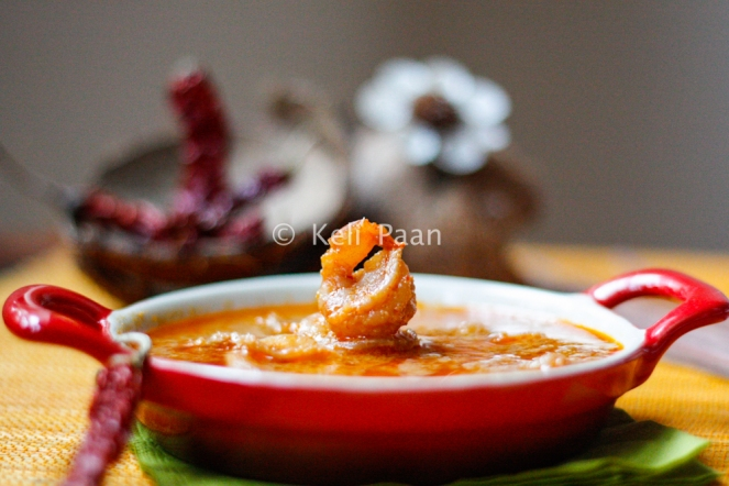Sungta Hinga Udda/Sungta Randai/Prawns cooked in a red hot coconut gravy - Konkani style/RHCP....