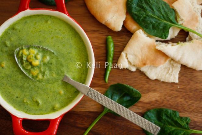 Makai Malai Palak/Sweetcorn in a creamy spinach sauce..