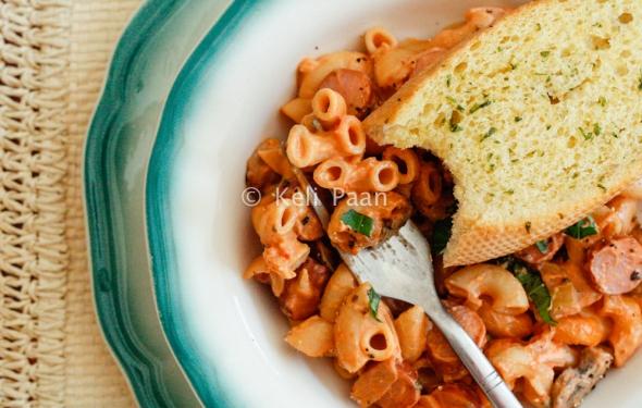 Fiery Cheesy Tomato Macaroni Bake with Mushrooms & Frankfurters..