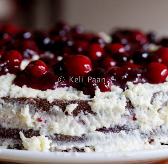 Messy Black forest fruits fresh cream cake....
