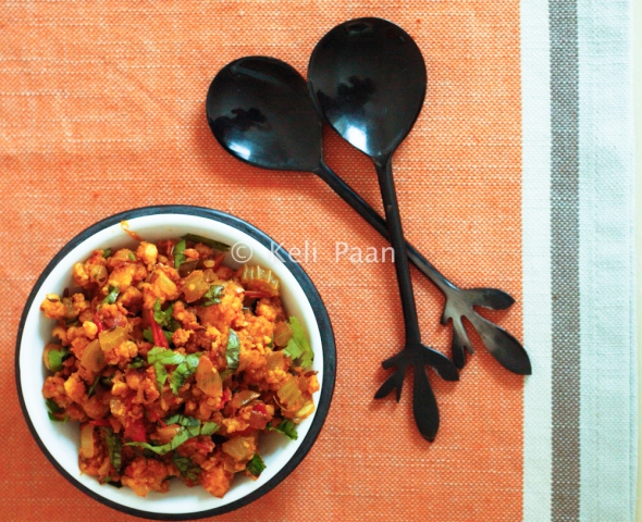 Paneer/Cottage cheese burji with hints of Celery....