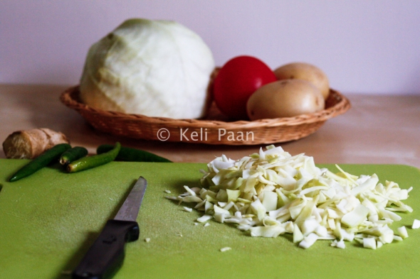 Chop the cabbage as fine as you can....