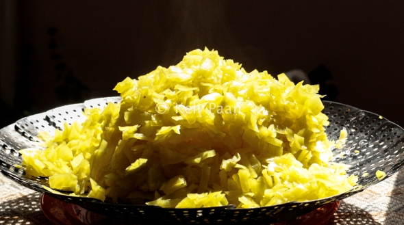 Firmly cooked & drained cabbage bits...