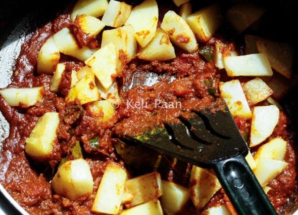 Add the half fried potatoes..