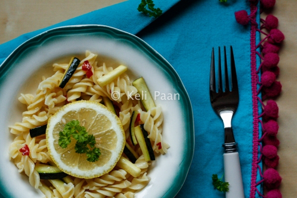 LemonChilli Pasta with courgette...