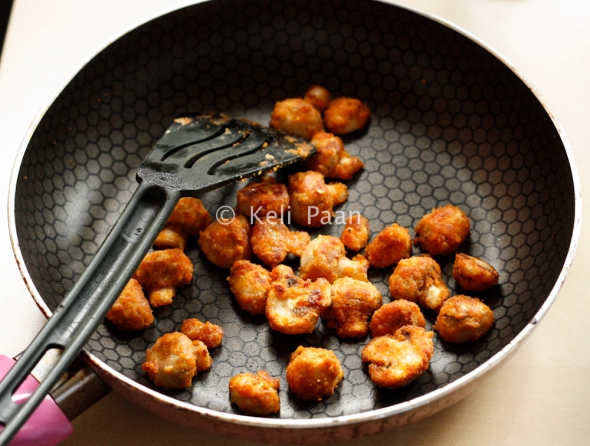 Crispy golden brown mushrooms ready to be served..