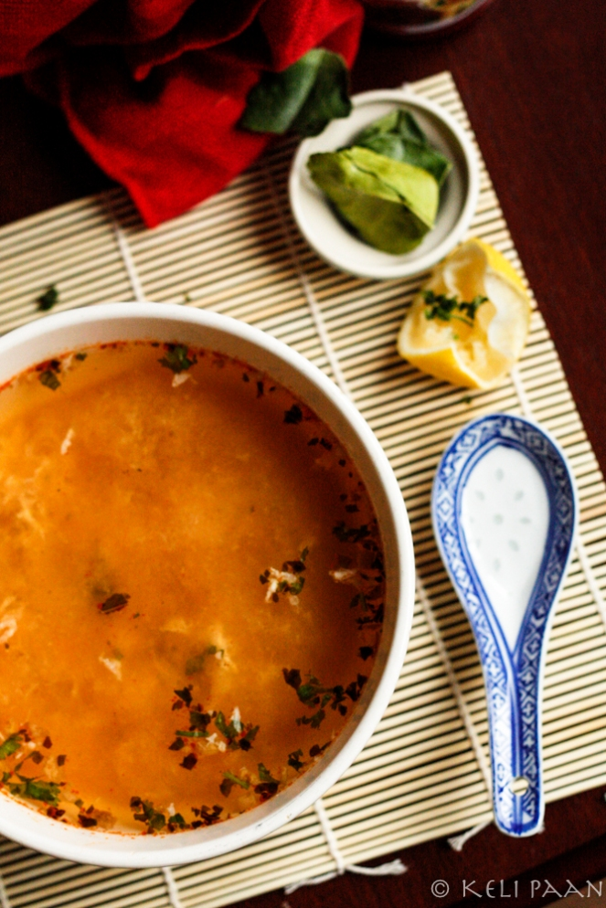 Cloudy Chicken soup with Thai flavours..