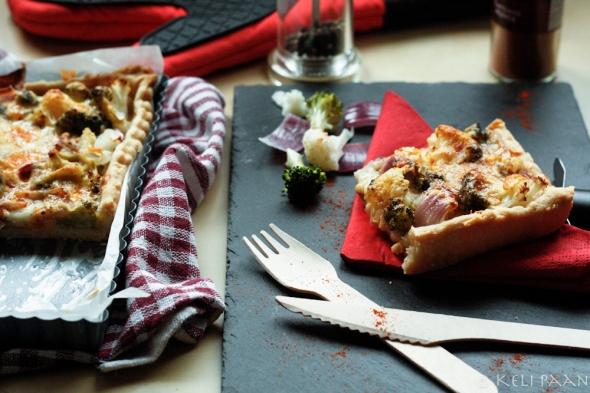 Cauliflower, Broccoli & Red onion Flan..
