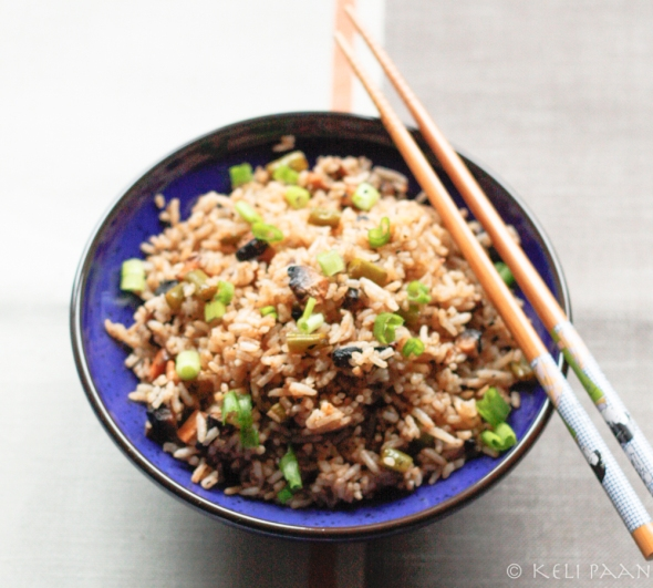 Mushroom fried rice with Sriracha sauce...