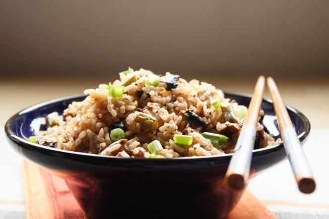 Veg fried rice with Sriracha sauce...