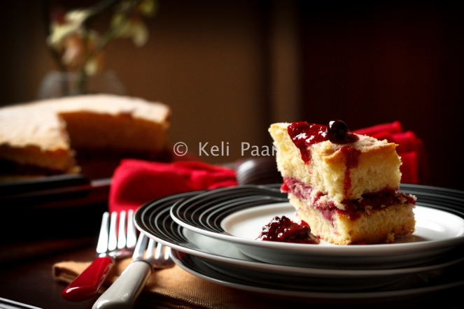 Summer fruits Compote sandwiched between Sponge cake..