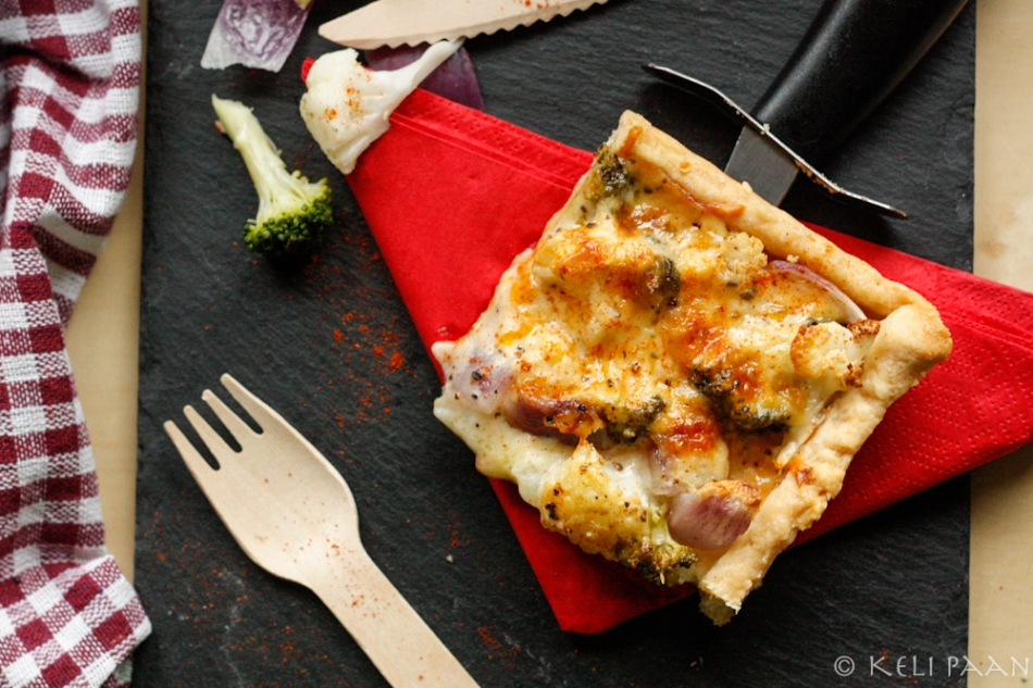 Cauliflower, Broccoli & Red onion Flan..