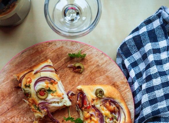 Cheesy Red Onion & Pimento Olive Focaccia...