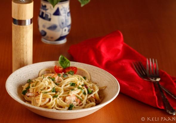 Spaghetti Butter Garlic Shrimps...