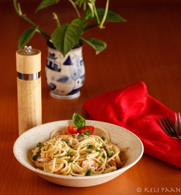 Spaghetti Butter Garlic Prawns...