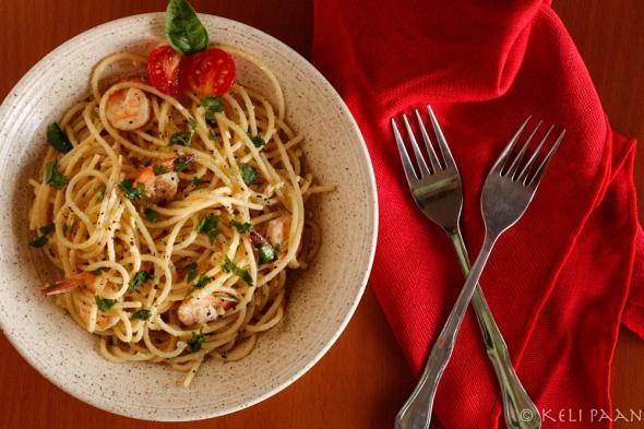 Spaghetti Butter Garlic Prawns....