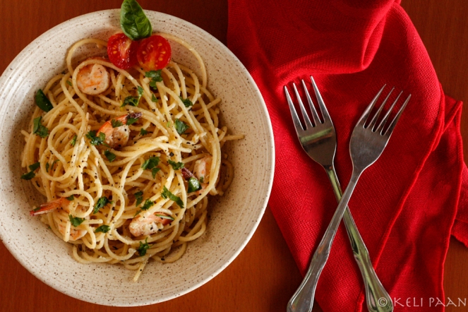 Spaghetti Butter Garlic Prawns....
