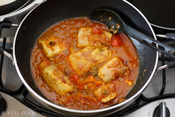 Add the fish & cook till done..