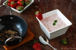 Strawberry-Basil Raita with toasted sesame seeds..